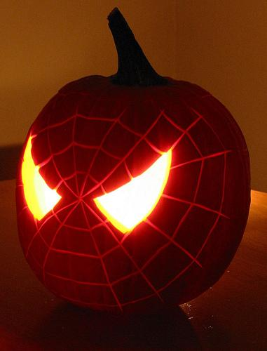 Pumpkin carving spiderman template.